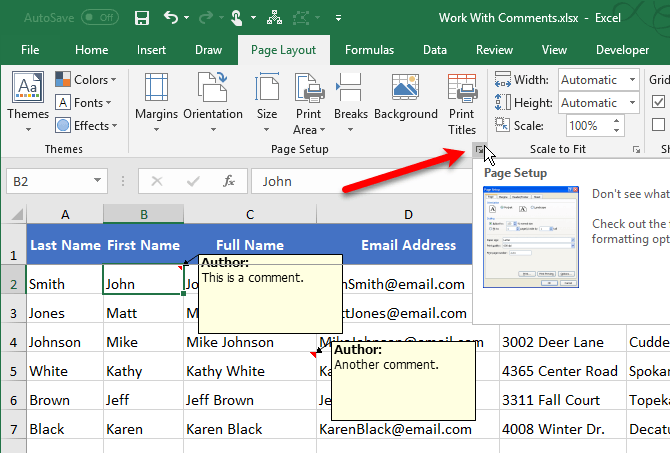 Click the Page Setup button in Excel