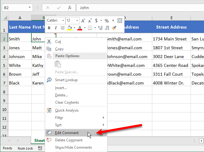 Select Edit Comment in Excel