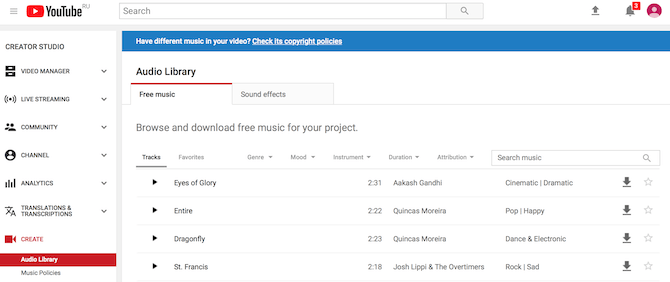 how to make a YouTube Intro using youtube audio library