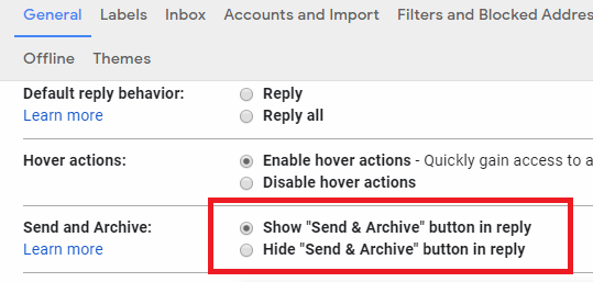 disable send and archive