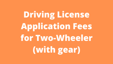 Driving License Application Fees for Two-Wheeler (with gear)